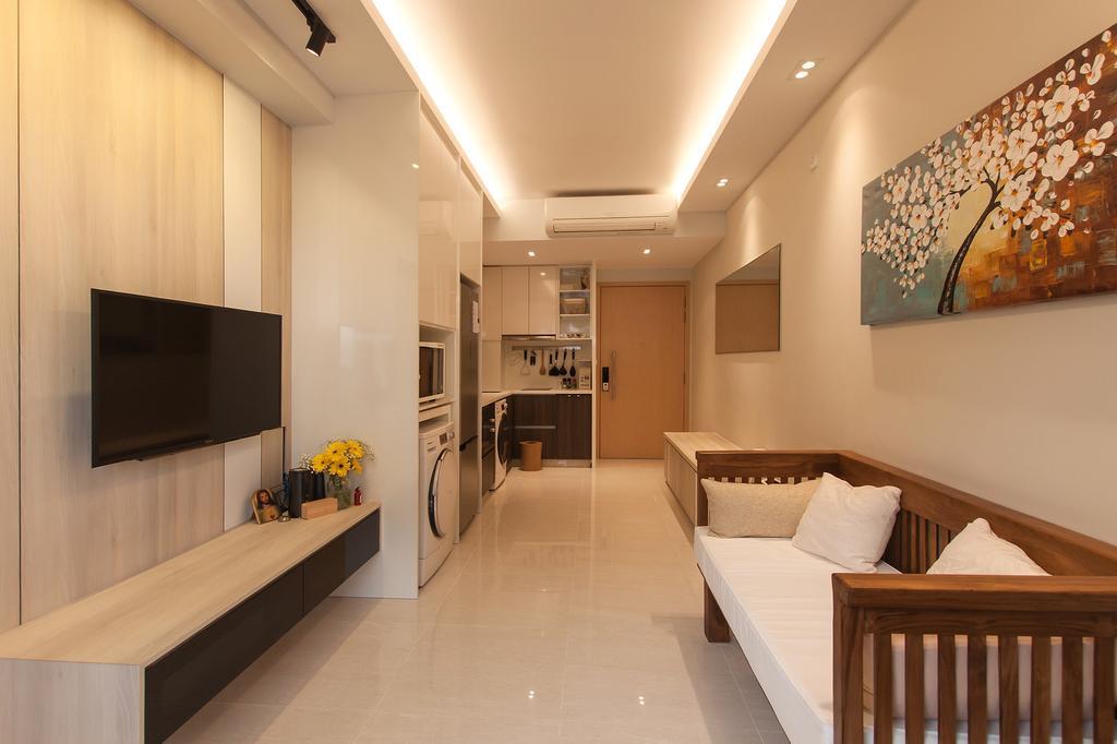 Modern, Condo, Living Room, La Fiesta, Interior Designer, Space Atelier, Artwork, Woody, Small Home, Compact Home, Resort, Balinese Theme, Crib, Furniture, Corridor