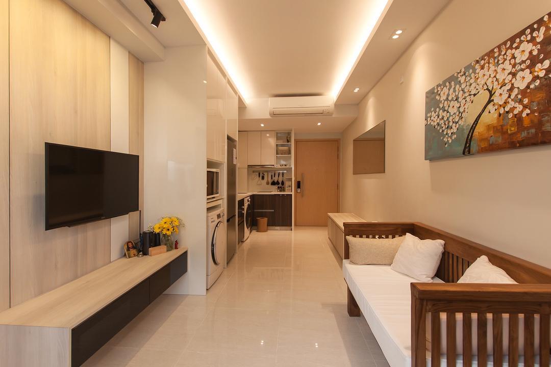La Fiesta, Space Atelier, Modern, Living Room, Condo, Artwork, Woody, Small Home, Compact Home, Resort, Balinese Theme, Crib, Furniture, Corridor