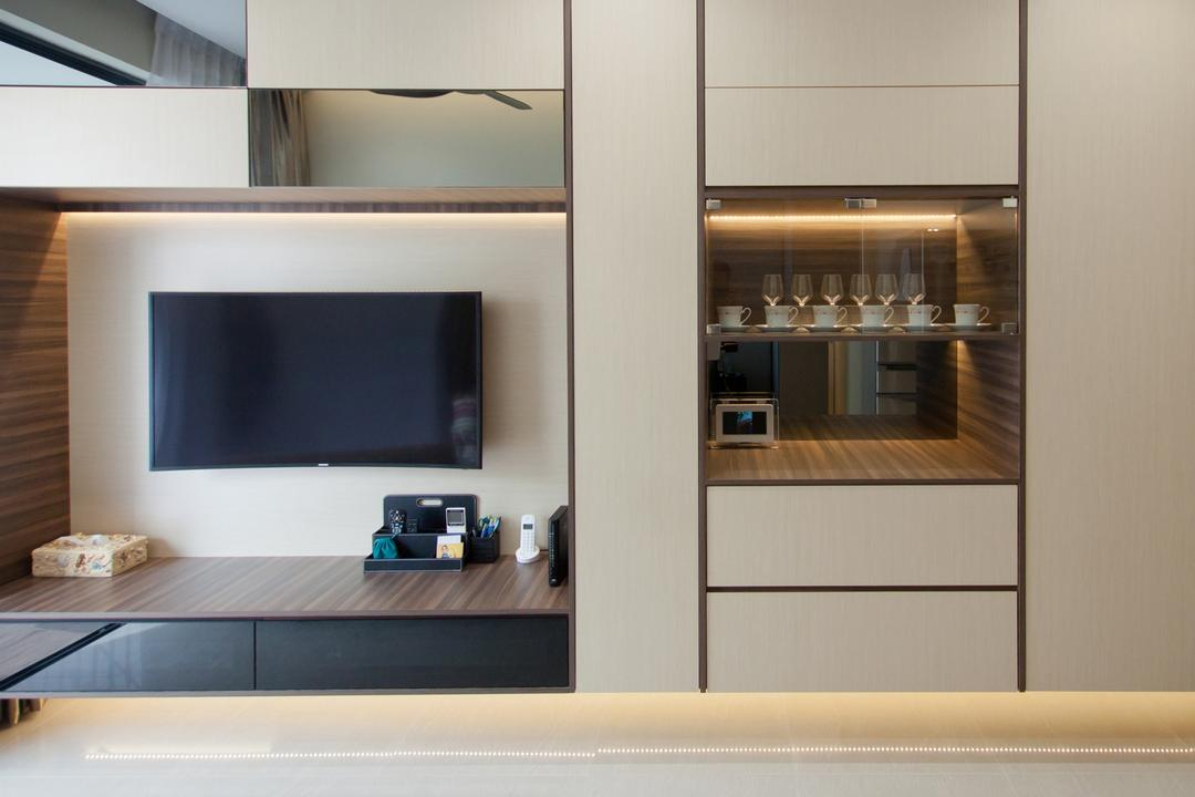 Sengkang Square, Space Atelier, Modern, Living Room, Condo, Floating Console, Wall Mounted Television, , Wooden Drawers, Appliance, Electrical Device, Oven, Electronics, Entertainment Center