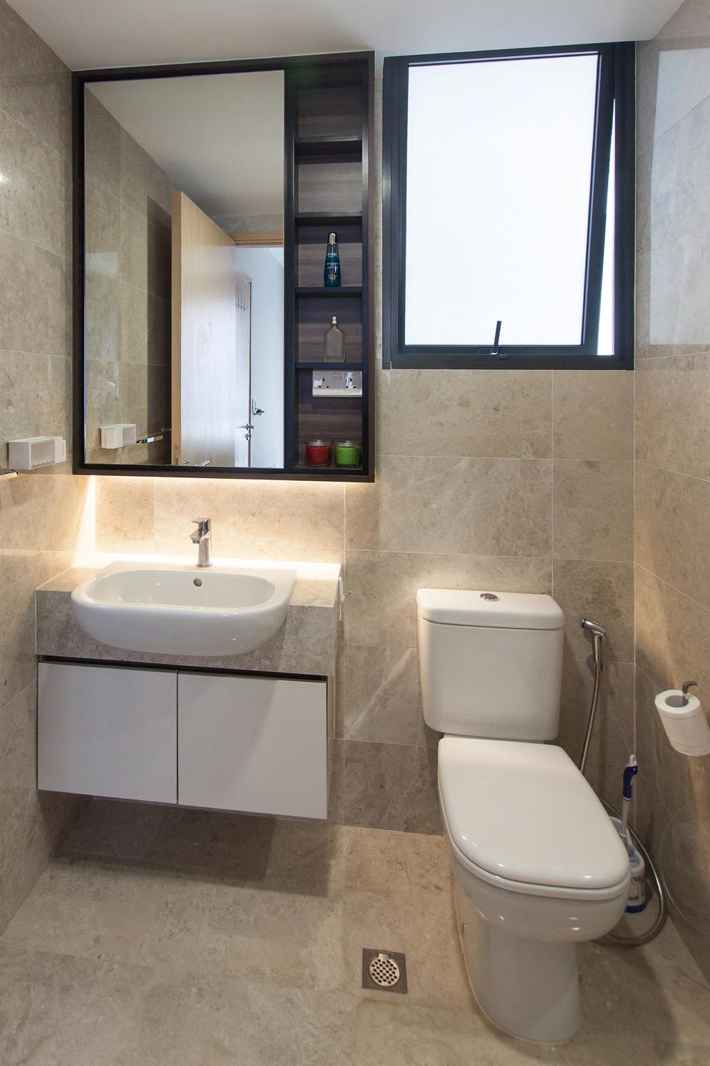 Modern, Condo, Bathroom, Sengkang Square, Interior Designer, Space Atelier, Marble Surface, Hidden Interior Lighting, Wall Mounted Cabinet, , Mirror Door Cabinet, Window, Toilet, Appliance, Electrical Device, Oven