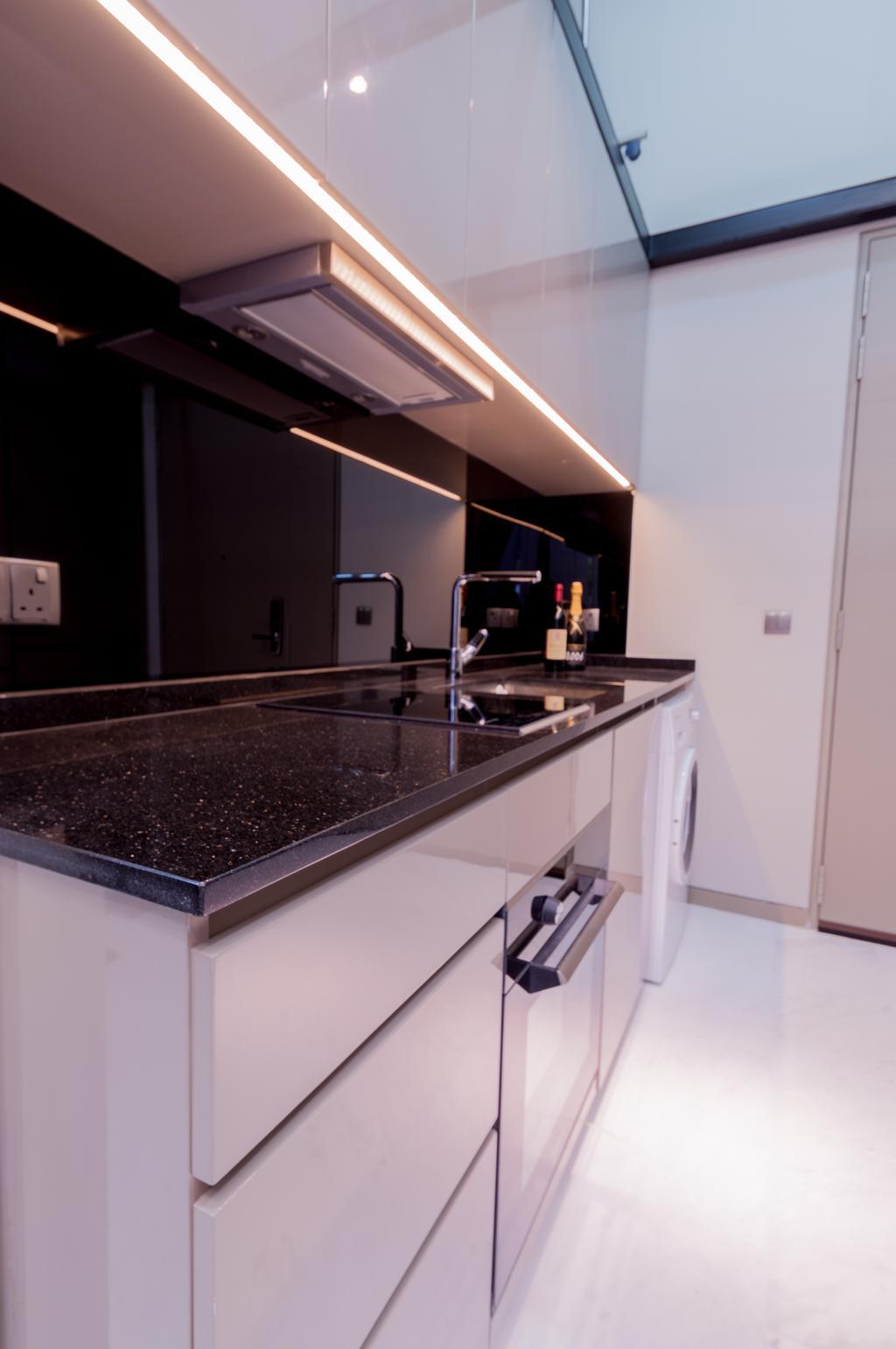 Modern, Condo, Kitchen, Robin Drive, Interior Designer, Space Atelier, Hidden Interior Lighting, Black Marble Surface, Indoors, Interior Design, Room