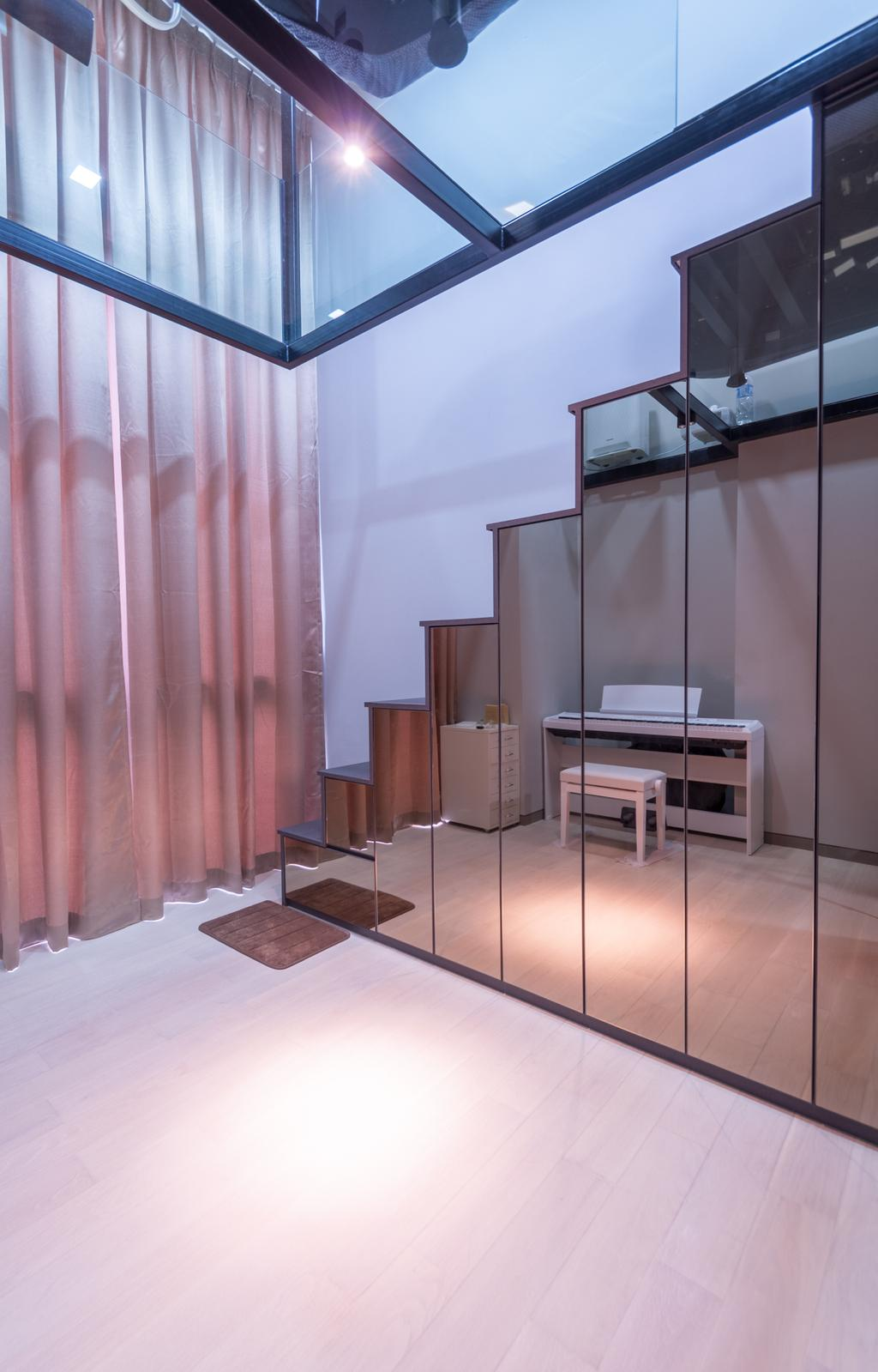 Modern, Condo, Living Room, Robin Drive, Interior Designer, Space Atelier, Stairs, Stair Way, Storage Under Stairs, Reflective Surfaces, Mirrored Panels, Mirrored Doors, High Ceiling, Dining Table, Furniture, Table, Flooring, Desk, Chair, HDB, Building, Housing, Indoors, Interior Design
