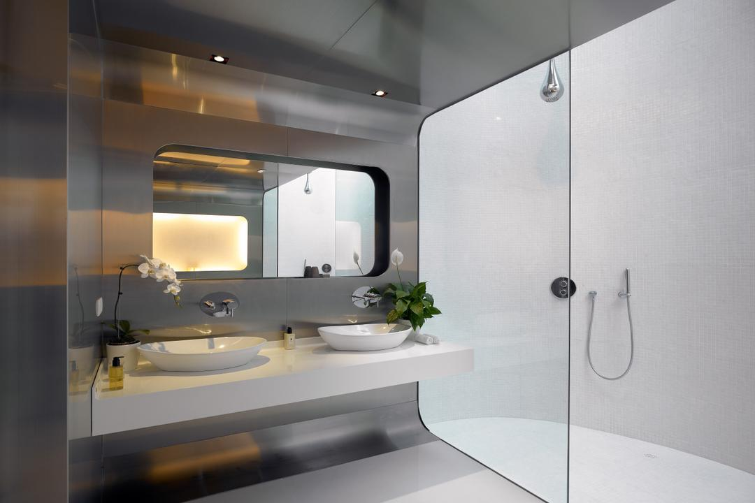 Cove Way 2, Greg Shand Architects, Modern, Bathroom, Landed, Wall Mount Sink, Glass Doors, White Wall, White Floor, Mirror, Potted Plants, White Basin, Flowers, Light Fixture, Indoors, Interior Design, Room