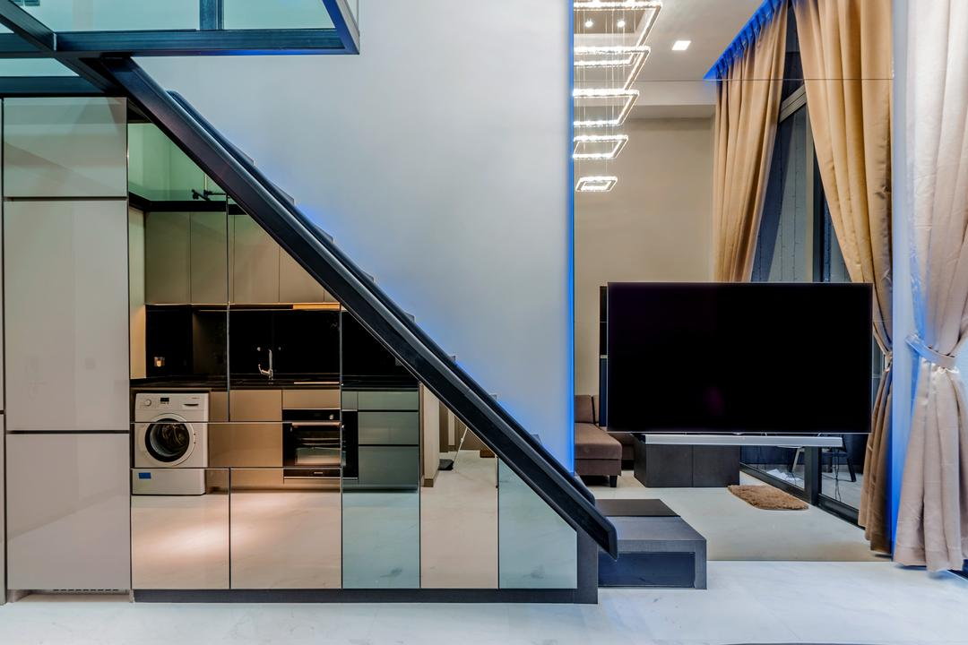 Robin Drive, Space Atelier, Modern, Living Room, Condo, Large Mirror, Wall Mounted Television, Giant Curtains, Wooden Cabinets, Electronics, Lcd Screen, Monitor, Screen