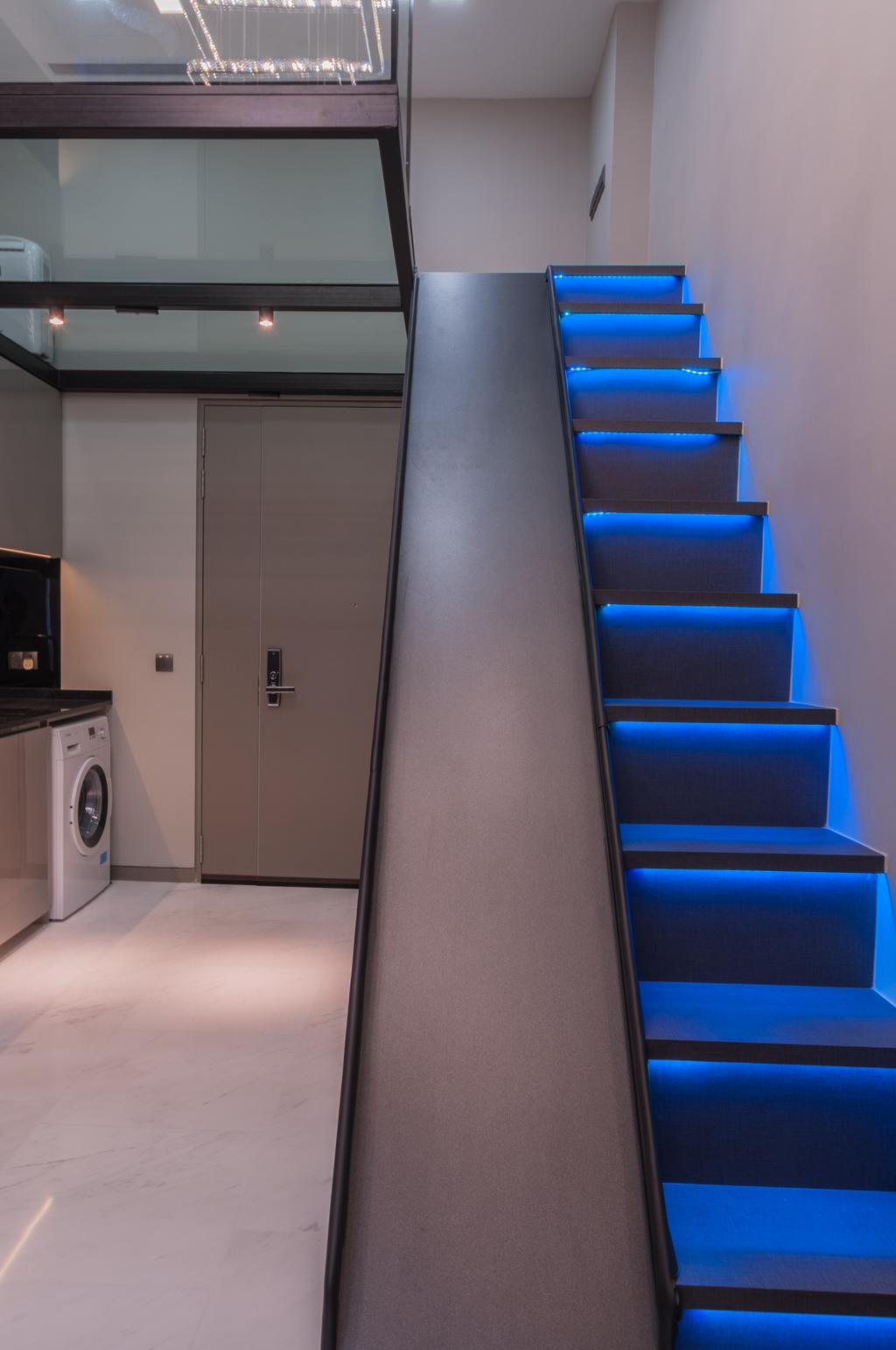 Modern, Condo, Living Room, Robin Drive, Interior Designer, Space Atelier, Staircase, Chair, Furniture