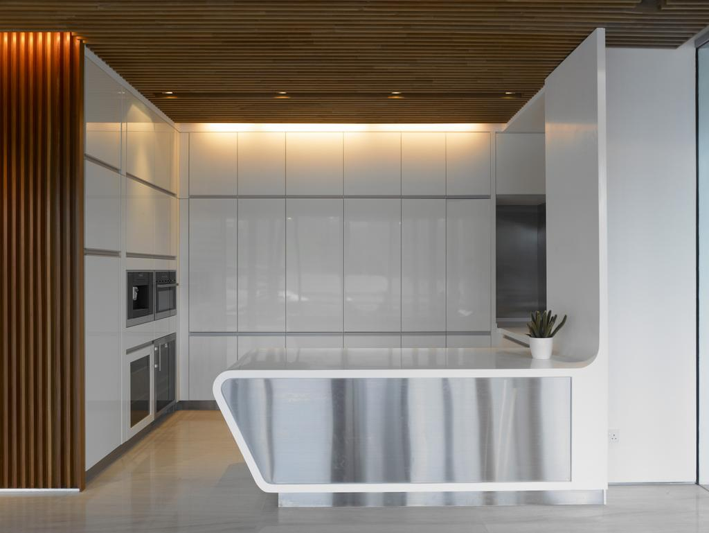 Modern, Landed, Kitchen, Cove Way 2, Architect, Greg Shand Architects, Wooden Ceiling, Concealed Lights, White Kitchen Counter, White, Kitchen Counter, White Cabinets, Cabinets, Wooden Walls
