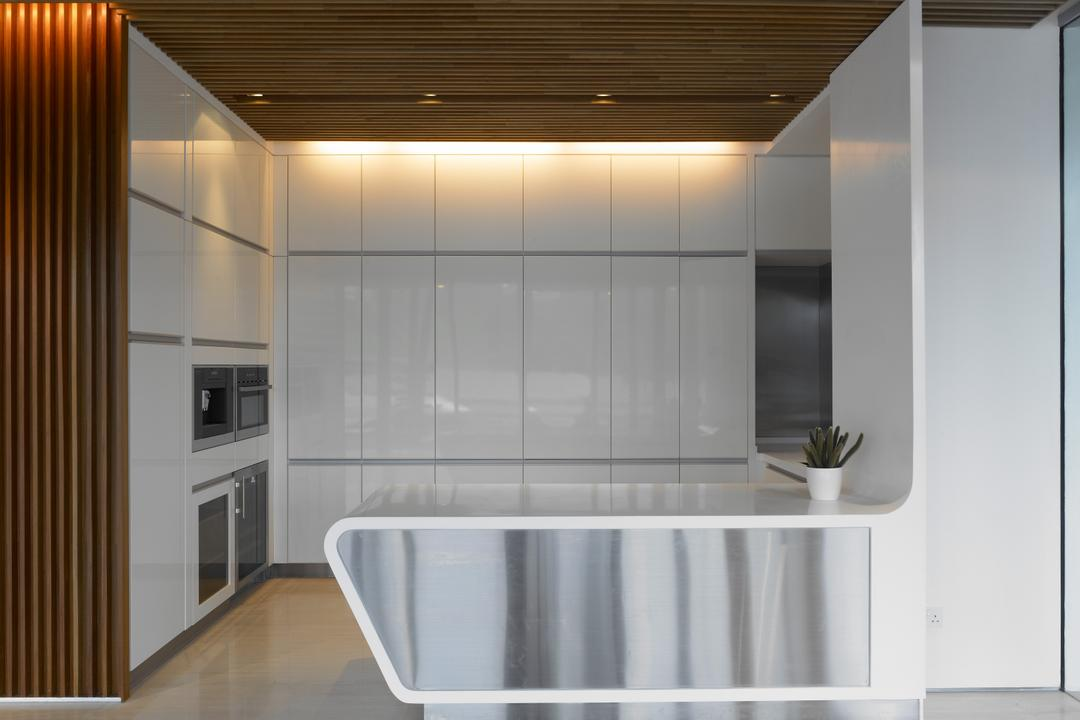 Cove Way 2, Greg Shand Architects, Modern, Kitchen, Landed, Wooden Ceiling, Concealed Lights, White Kitchen Counter, White, Kitchen Counter, White Cabinets, Cabinets, Wooden Walls