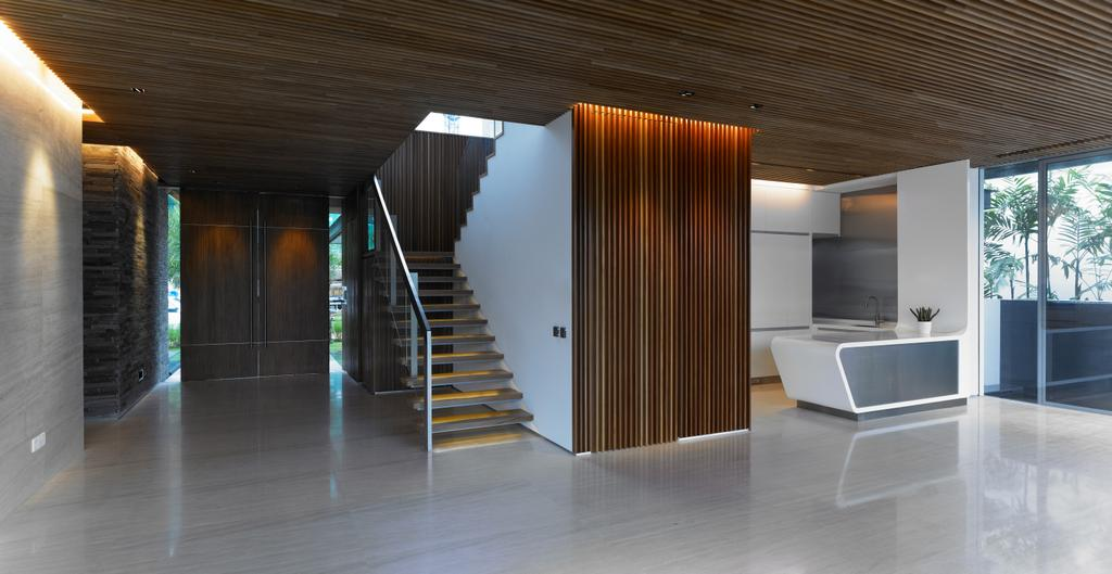 Modern, Landed, Cove Way 2, Architect, Greg Shand Architects, Wooden Ceiling, Wooden Wall, Wooden Steps, Staircase, Indoors, Interior Design, Banister, Handrail