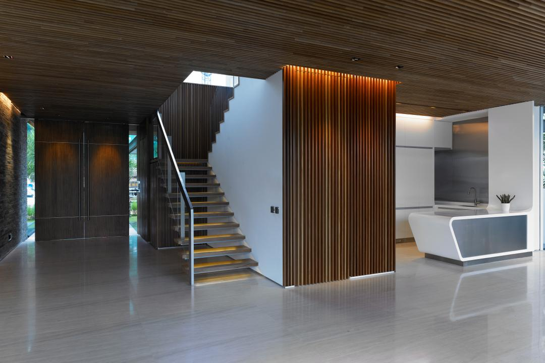 Cove Way 2, Greg Shand Architects, Modern, Landed, Wooden Ceiling, Wooden Wall, Wooden Steps, Staircase, Indoors, Interior Design, Banister, Handrail