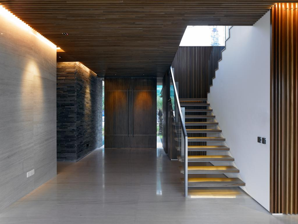 Modern, Landed, Cove Way 2, Architect, Greg Shand Architects, Wooden Ceiling, Wooden Steps, Glass Barricade, Wooden Wall, Concealed Lighting, Banister, Handrail, Staircase, Corridor