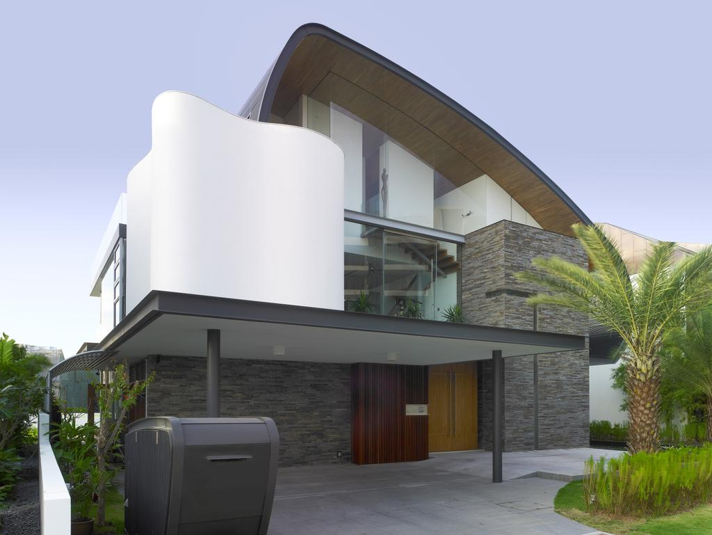 Modern, Landed, Cove Way 2, Architect, Greg Shand Architects, Exterior View, White Walls, Rough Tiled Wall, Tiled Wall, Shelter, Plants, Building, House, Housing, Villa