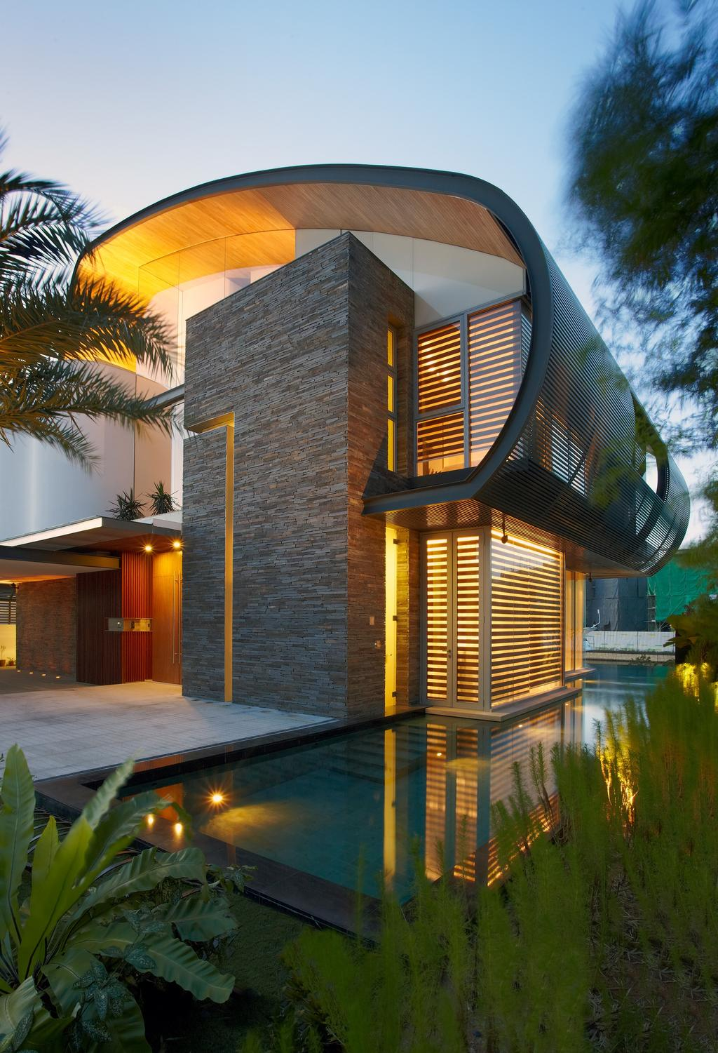 Modern, Landed, Cove Way 2, Architect, Greg Shand Architects, Exterior View, Plants, Concealed Lights, Tiled Wall, Rough Tiled Wall, Shelter, Indoor Pool, Private Pool, Curtain, Home Decor, Shutter, Window, Window Shade, Arecaceae, Flora, Palm Tree, Plant, Tree, Building, House, Housing, Villa