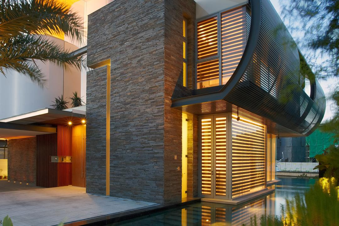 Cove Way 2, Greg Shand Architects, Modern, Landed, Exterior View, Plants, Concealed Lights, Tiled Wall, Rough Tiled Wall, Shelter, Indoor Pool, Private Pool, Curtain, Home Decor, Shutter, Window, Window Shade, Arecaceae, Flora, Palm Tree, Plant, Tree, Building, House, Housing, Villa