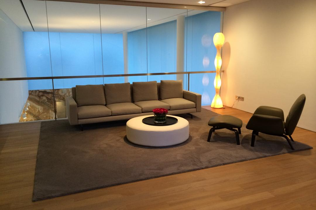 Gallop Park Road, Greg Shand Architects, Modern, Living Room, Landed, Wooden Flooring, Wooden Laminate, Laminated Flooring, Laminated Floor, Floor Lamp, Glowing Lamp, Carpet, Brown Carpet, Brown Sofa, Sofa, Glass Walls, Armchair, Couch, Furniture, Chair, HDB, Building, Housing, Indoors