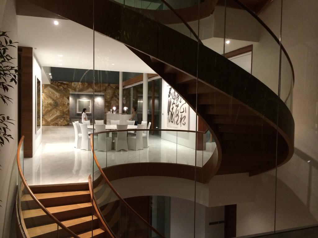 Modern, Landed, Gallop Park Road, Architect, Greg Shand Architects, Stairway, Twisted Stairway, Glass Railing, Spiral, Flora, Jar, Plant, Potted Plant, Pottery, Vase, Banister, Handrail, Staircase
