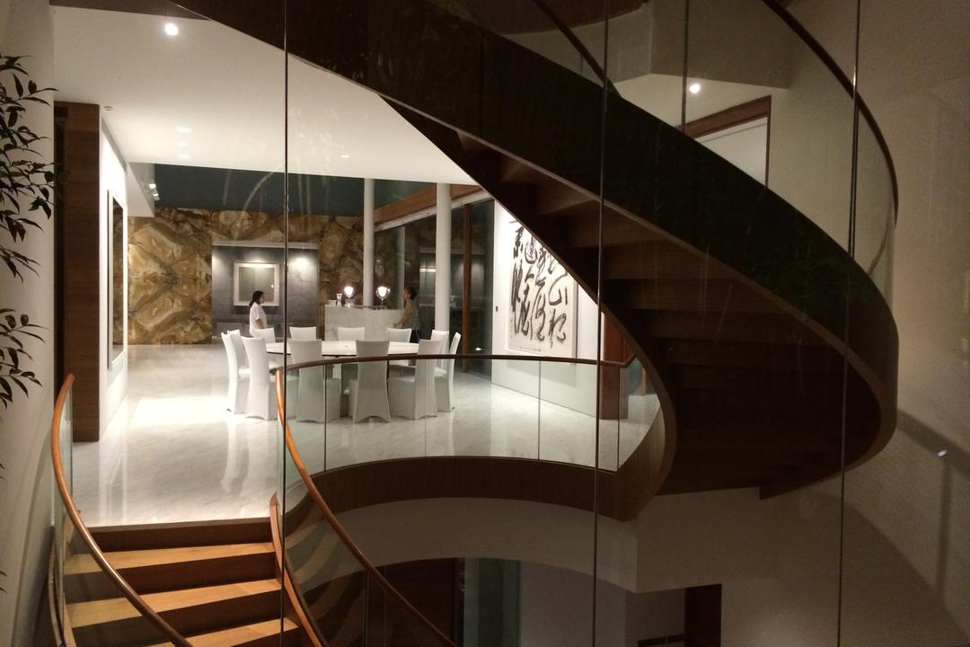 Gallop Park Road, Greg Shand Architects, Modern, Landed, Stairway, Twisted Stairway, Glass Railing, Spiral, Flora, Jar, Plant, Potted Plant, Pottery, Vase, Banister, Handrail, Staircase