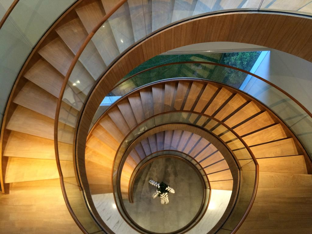 Modern, Landed, Gallop Park Road, Architect, Greg Shand Architects, Twisted Stairway, Spiral Stairway, Glass Railing, Wooden Steps, Wood Steps, Spiral