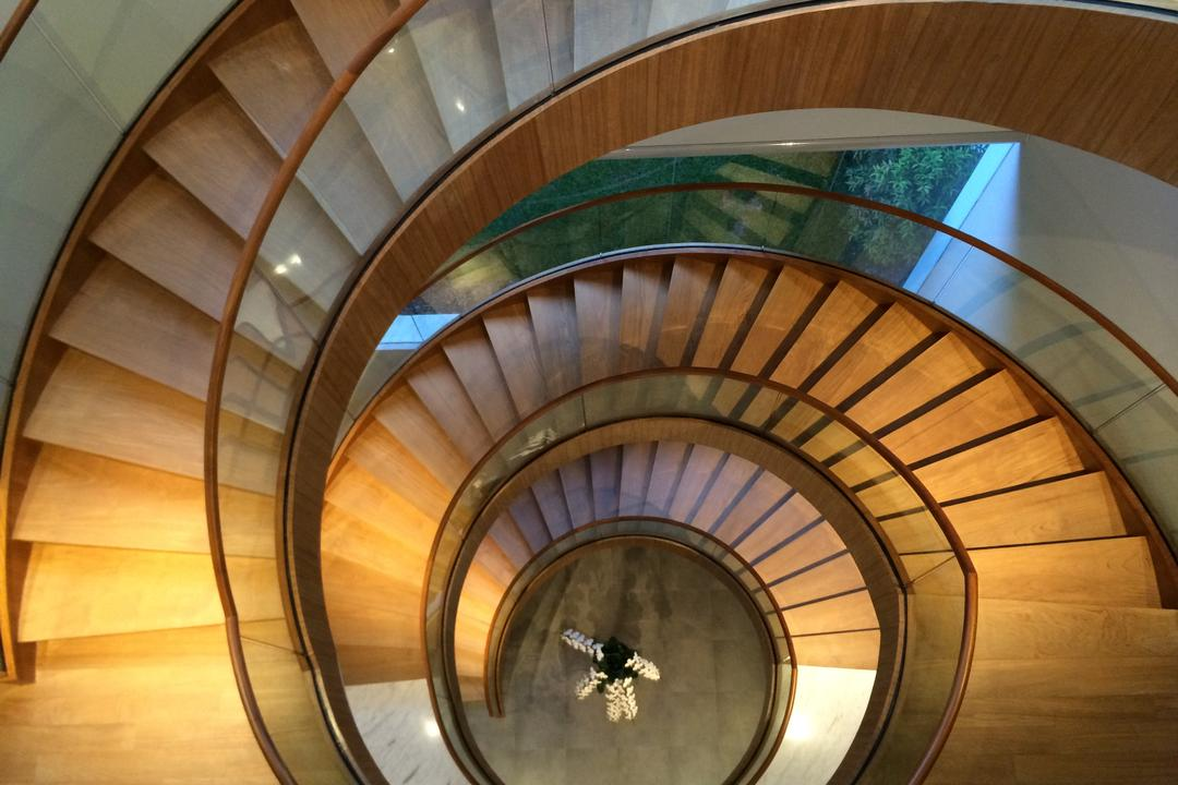 Gallop Park Road, Greg Shand Architects, Modern, Landed, Twisted Stairway, Spiral Stairway, Glass Railing, Wooden Steps, Wood Steps, Spiral