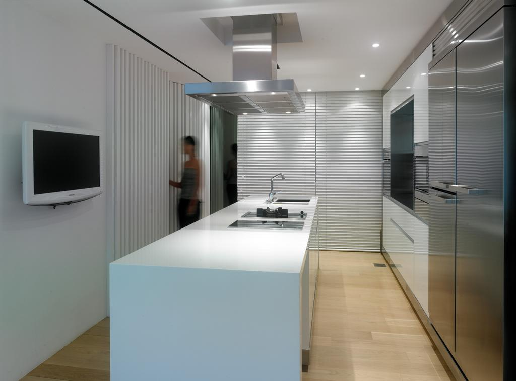 Modern, Condo, Kitchen, Peppy's Hill, Architect, Greg Shand Architects, Cooking Hood, Cooker Hood, Wooden Flooring, Laminated Floor, Laminated Flooring, Ceiling Lights, White Kitchen Counter, Wall Tv