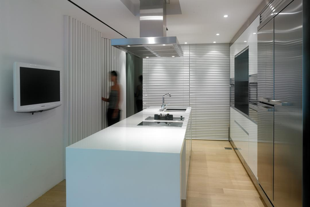Peppy's Hill, Greg Shand Architects, Modern, Kitchen, Condo, Cooking Hood, Cooker Hood, Wooden Flooring, Laminated Floor, Laminated Flooring, Ceiling Lights, White Kitchen Counter, Wall Tv