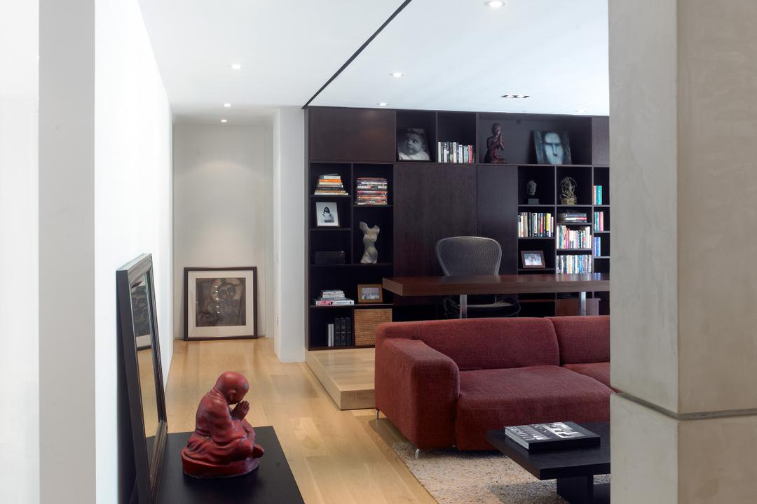 Peppy's Hill, Greg Shand Architects, Modern, Living Room, Condo, Ceiling Lights, Wooden Flooring, Laminated Floor, Shelf, Buddha Statue, Mirror Frame, Sofa, Red Sofa, Open Shelf, Bookshelf, Carpet, Human, People, Person, Couch, Furniture