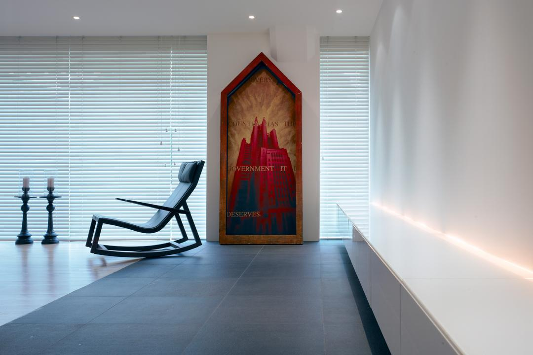 Peppy's Hill, Greg Shand Architects, Modern, Condo, Concealed Lighting, Concealed Lights, Ceiling Lights, Rocking Chair, Modern Rocking Chair, Candle Holder, Blinds, Venetian Blinds, Wall Art, Wallart, Chair, Furniture, Flooring, Corridor, Indoors, Interior Design