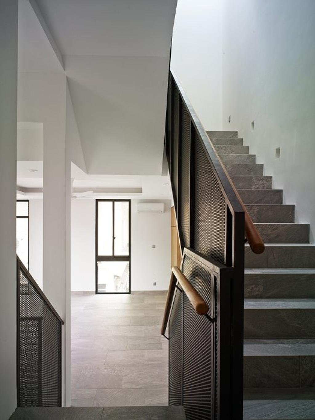 Minimalistic, Landed, House at JM, Architect, OWMF Architecture, HDB, Building, Housing, Indoors, Loft, White Board, Mirror, Chair, Furniture, Banister, Handrail