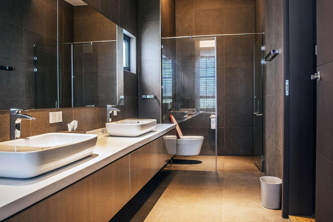 Pool House, Code Red Studio, Modern, Contemporary, Bathroom, Landed, Indoors, Interior Design, Room, Door, Bowl