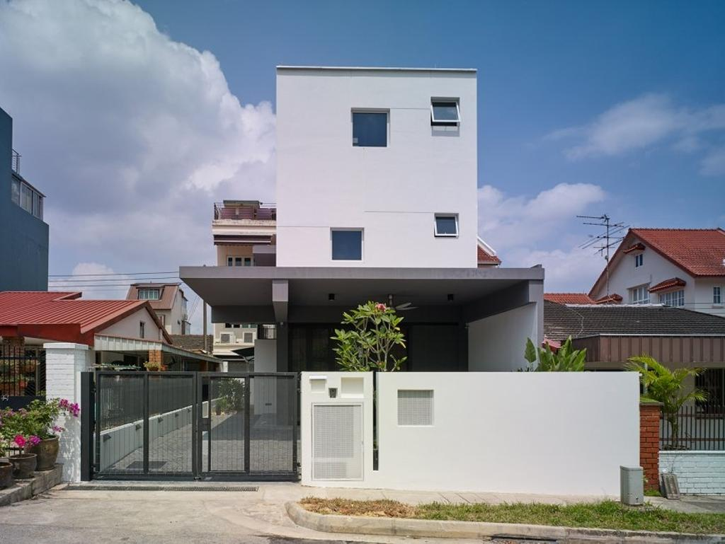 Minimalistic, Landed, House at JM, Architect, OWMF Architecture, Exterior View, Flora, Jar, Plant, Potted Plant, Pottery, Vase, Building, House, Housing, Villa, Roof