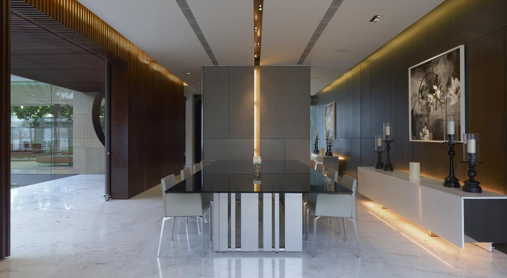 Modern, Landed, Dining Room, Ocean Drive 2, Architect, Greg Shand Architects, Concealed Lighting, Concealed Lights, Shelf, White Shelf, Display Shelf, Portrait, Candle Holders, Dining Table, Marble Floor, Dining Chairs, Wooden Walls, Furniture, Table, Indoors, Interior Design