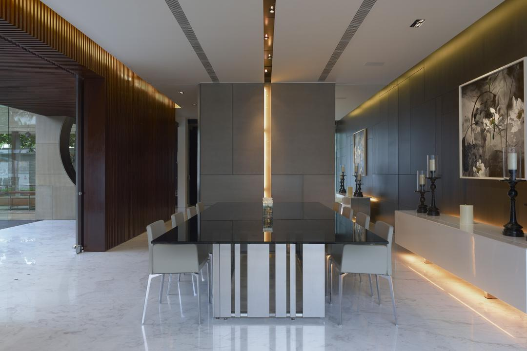Ocean Drive 2, Greg Shand Architects, Modern, Dining Room, Landed, Concealed Lighting, Concealed Lights, Shelf, White Shelf, Display Shelf, Portrait, Candle Holders, Dining Table, Marble Floor, Dining Chairs, Wooden Walls, Furniture, Table, Indoors, Interior Design