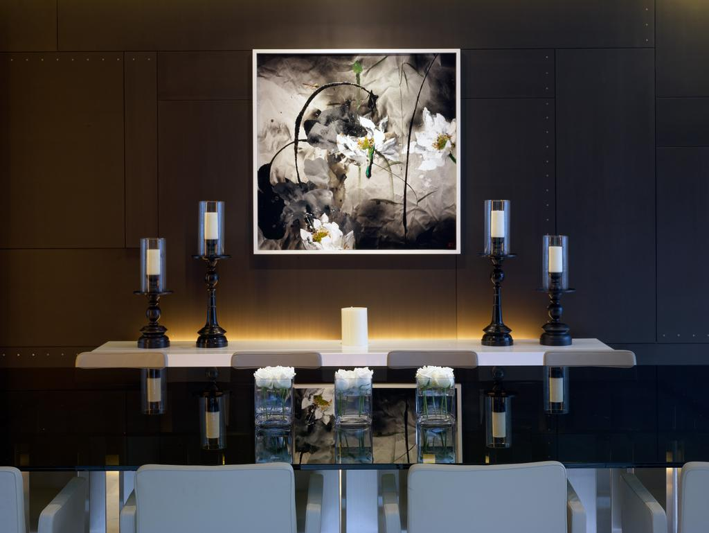 Modern, Landed, Ocean Drive 2, Architect, Greg Shand Architects, Portrait, Candle Holders, Shelf, Dining Table, White Candle, Collage, Poster, Furniture, Table