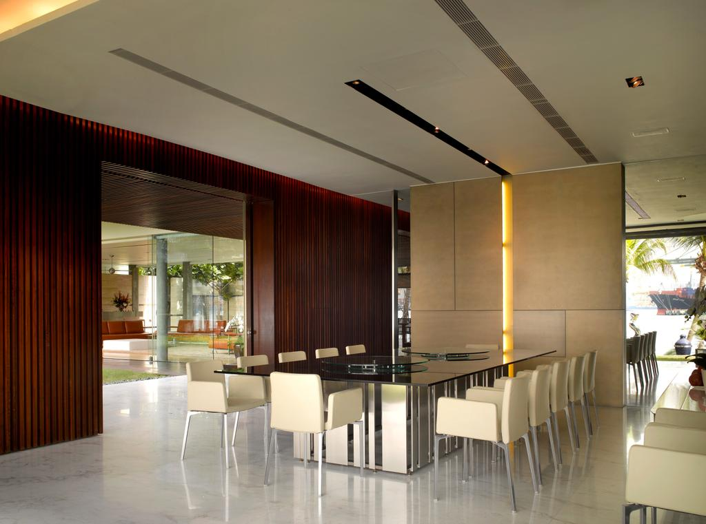 Modern, Landed, Dining Room, Ocean Drive 2, Architect, Greg Shand Architects, Concealed Lighting, Concealed Lights, Dining Table, Dining Chairs, Wooden Wall, Furniture, Table, Indoors, Interior Design, Room