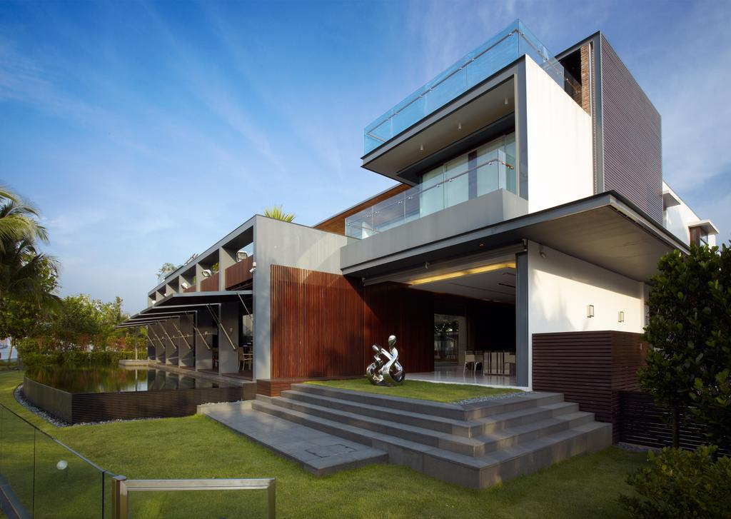 Modern, Landed, Ocean Drive 2, Architect, Greg Shand Architects, Exterior View, Grey Steps, Grass Patches, Two Storey, Flora, Jar, Plant, Potted Plant, Pottery, Vase, Building, Hangar, Bench, House, Housing