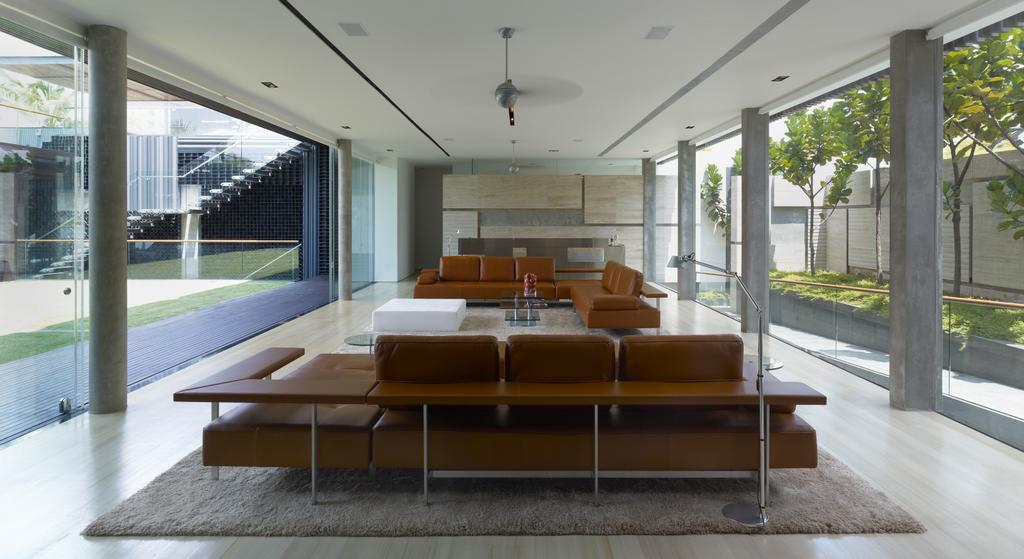 Modern, Landed, Living Room, Ocean Drive 2, Architect, Greg Shand Architects, Grey Pillars, Pillars, Glass Walls, Carpet, Sofa, Couch, Furniture, Indoors, Interior Design, Chair, Coffee Table, Table, Dining Table