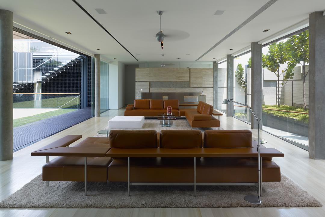 Ocean Drive 2, Greg Shand Architects, Modern, Living Room, Landed, Grey Pillars, Pillars, Glass Walls, Carpet, Sofa, Couch, Furniture, Indoors, Interior Design, Chair, Coffee Table, Table, Dining Table