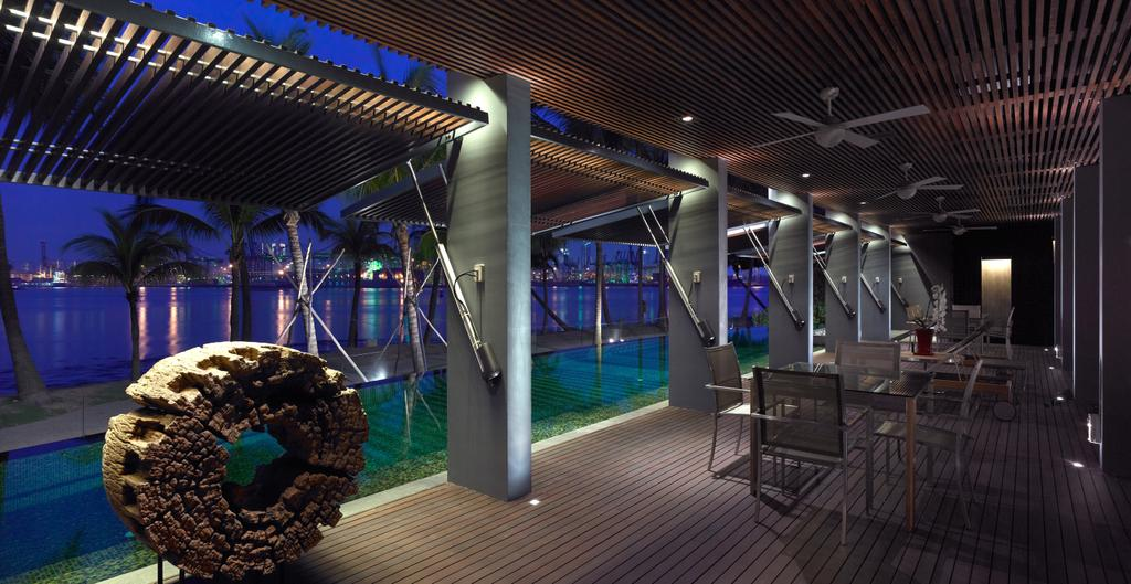 Modern, Landed, Ocean Drive 2, Architect, Greg Shand Architects, Outdoor Dining Area, Shelter, Chair, Furniture, Pool, Water, Dining Table, Table, Bench