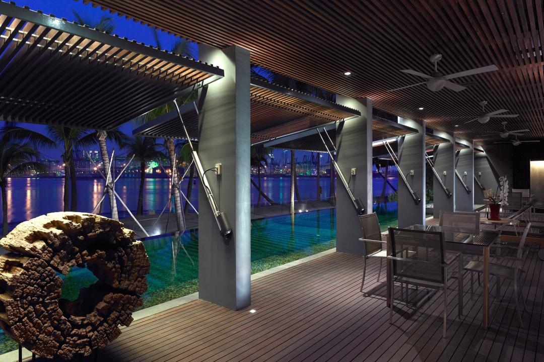 Ocean Drive 2, Greg Shand Architects, Modern, Landed, Outdoor Dining Area, Shelter, Chair, Furniture, Pool, Water, Dining Table, Table, Bench