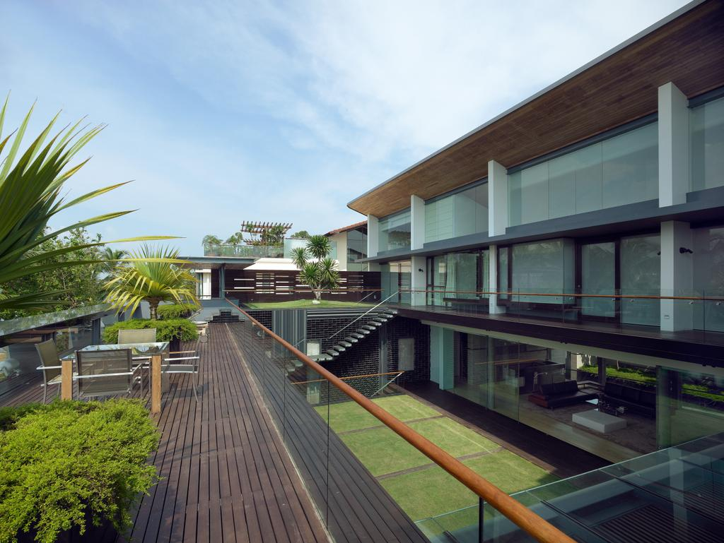 Modern, Landed, Ocean Drive 2, Architect, Greg Shand Architects, Walkway, Glass Barricade, Wooden Flooring, Plants, Seats, Outdoor Table, Outdoor Seats, Building, House, Housing, Villa, Terrace