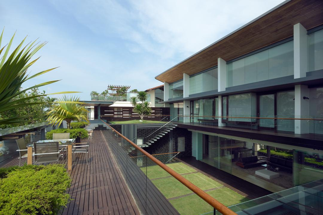 Ocean Drive 2, Greg Shand Architects, Modern, Landed, Walkway, Glass Barricade, Wooden Flooring, Plants, Seats, Outdoor Table, Outdoor Seats, Building, House, Housing, Villa, Terrace