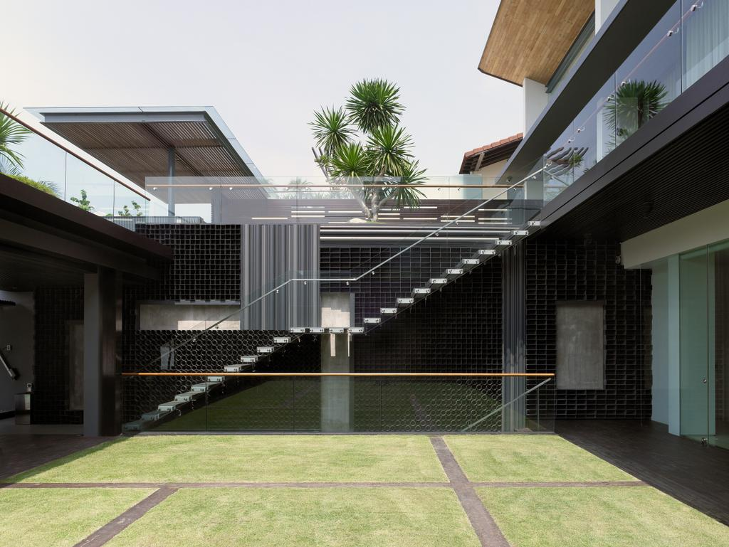 Modern, Landed, Ocean Drive 2, Architect, Greg Shand Architects, Indoor Field, Stairway, Glass Railing, Plants, Building, House, Housing, Villa
