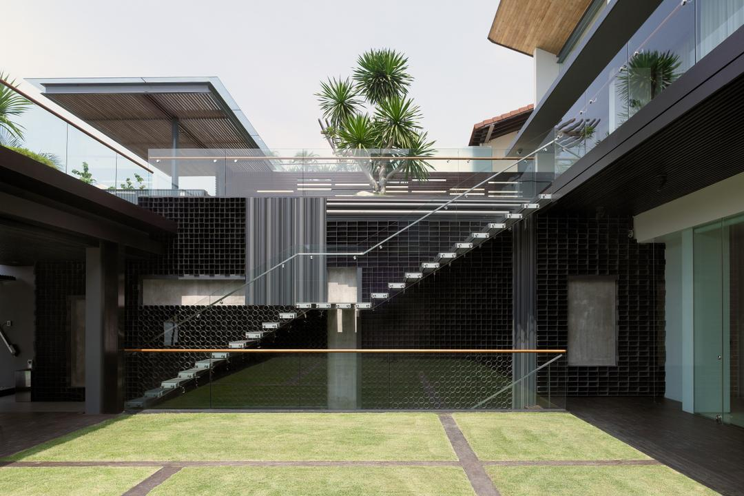 Ocean Drive 2, Greg Shand Architects, Modern, Landed, Indoor Field, Stairway, Glass Railing, Plants, Building, House, Housing, Villa