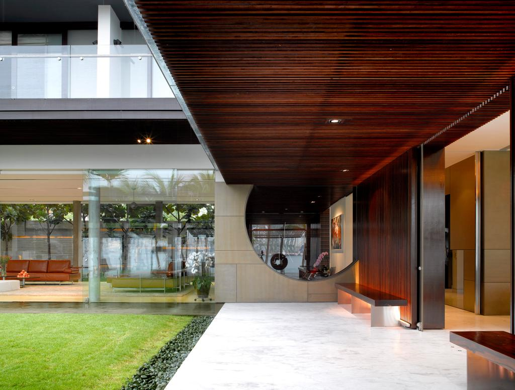 Modern, Landed, Ocean Drive 2, Architect, Greg Shand Architects, Wooden Ceiling, Grass Patch, Wooden Wall, Flora, Jar, Plant, Potted Plant, Pottery, Vase