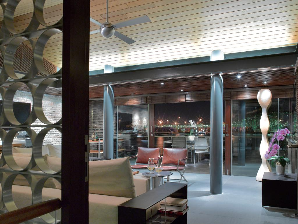 Modern, Landed, Ocean Drive 2, Architect, Greg Shand Architects, Tile Design Ceiling, Ceiling Fan, Partition, Standing Light, Pillars, Sofa, Shelf, Brown Shelf, Couch, Furniture, Cafe, Restaurant