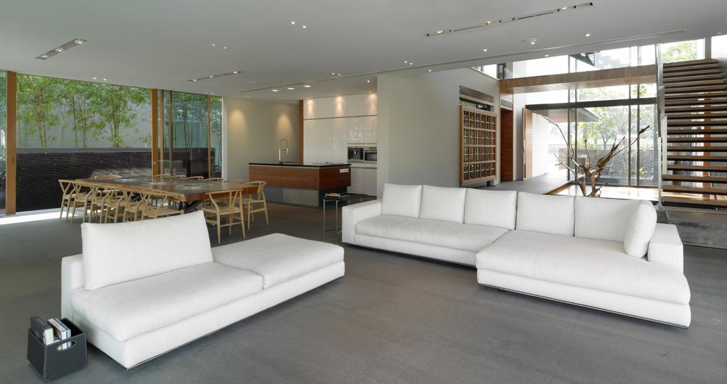 Modern, Landed, Living Room, Ocean Drive 1, Architect, Greg Shand Architects, Sofa, White Sofa, Steps, Couch, Furniture, Indoors, Interior Design
