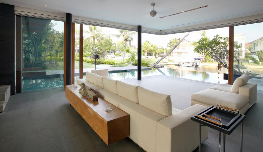Modern, Landed, Living Room, Ocean Drive 1, Architect, Greg Shand Architects, Sofa, White Sofa, Brown Shelf, Wooden Shelf, Couch, Furniture, Indoors, Interior Design