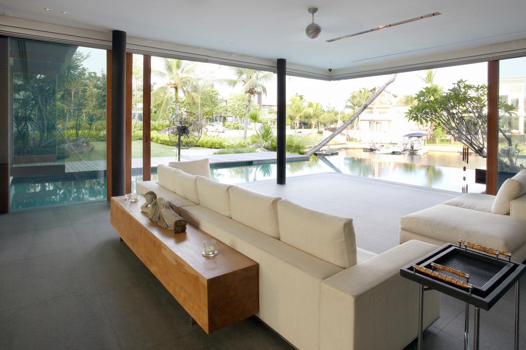 Ocean Drive 1, Greg Shand Architects, Modern, Living Room, Landed, Sofa, White Sofa, Brown Shelf, Wooden Shelf, Couch, Furniture, Indoors, Interior Design