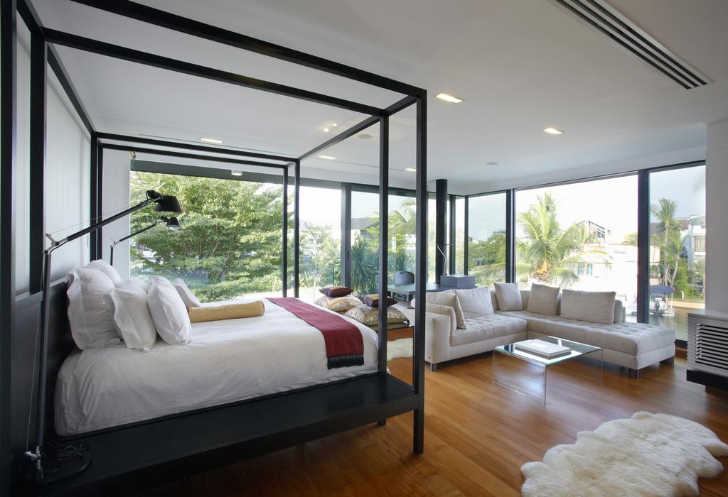 Modern, Landed, Bedroom, Ocean Drive 1, Architect, Greg Shand Architects, L Shaped Sofa, White Sofa, Wooden Flooring, Laminated Floor, Laminated Flooring, Carpet, Bedside Lamp, Recessed Lights, Canopy Bed, Flora, Jar, Plant, Potted Plant, Pottery, Vase