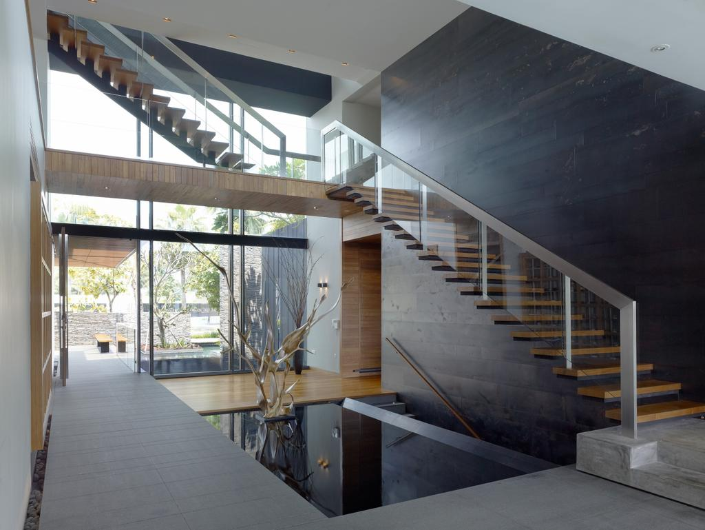 Modern, Landed, Ocean Drive 1, Architect, Greg Shand Architects, Stairway, Wooden Steps, Glass Railing, Plants, Small Pond, Appliance, Electrical Device, Oven, Bench