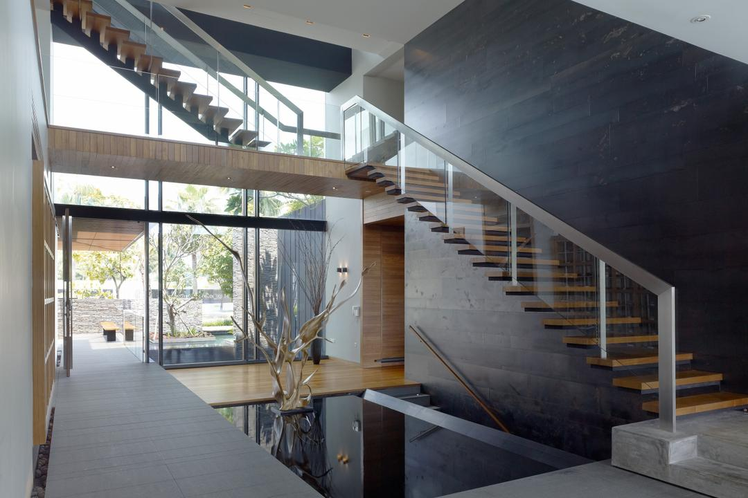 Ocean Drive 1, Greg Shand Architects, Modern, Landed, Stairway, Wooden Steps, Glass Railing, Plants, Small Pond, Appliance, Electrical Device, Oven, Bench